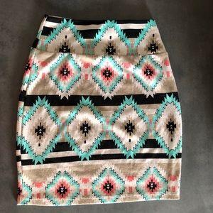 🦚3 for $10🦚Loving doll Aztec stretchy mini skirt